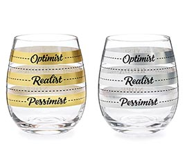 STEMLESS GOLD/SILVER FILL LINE GLASS