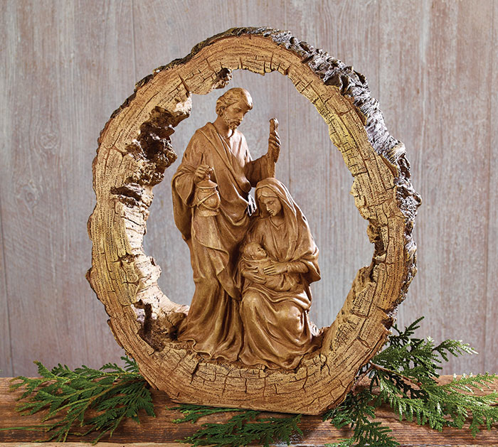 WOOD CARVED RESIN HOLY FAMILY NATIVITY
