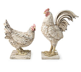 DISTRESSED RESIN ROOSTER/HEN FIGURINES