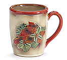 CREAM PORCELAIN MUG WITH RED CARDINAL