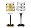 SILVER/GOLD FILL LINE WINE GLASS SET 1st Alternate Image