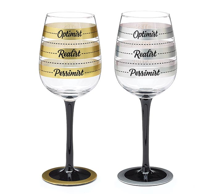 SILVER/GOLD FILL LINE WINE GLASS SET