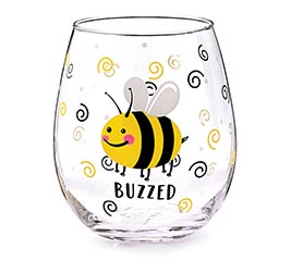 BUZZED BEE STEMLESS WINE GLASS