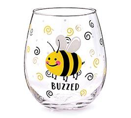 BUZZED BEE STEMLESS WINE GLASS