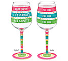 LET'S PARTY MESSAGES WINE GLASS