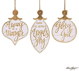 WHITE/GOLD CHRISTMAS ORNAMENT SET