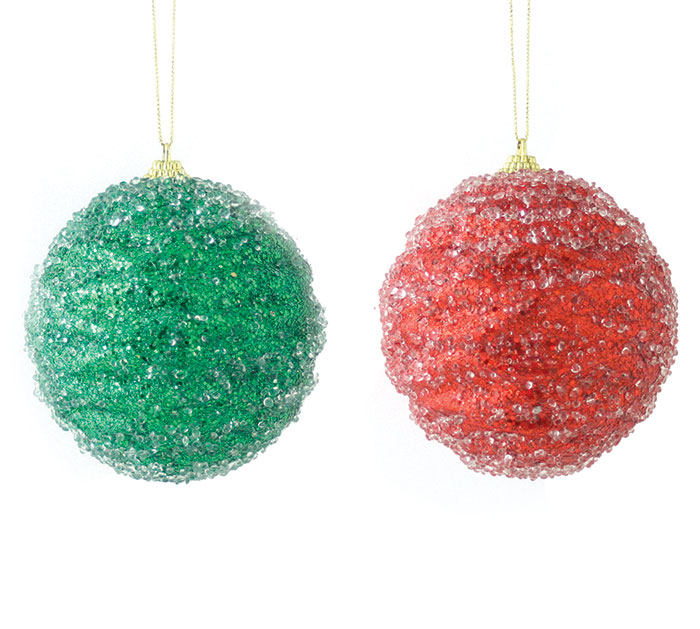 RED AND GREEN BEADED ORNAMENT SET