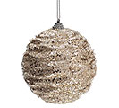 CHAMPAGNE GLITTER AND BEADED ORNAMENT