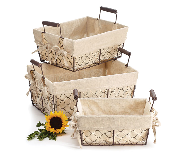 WIRE RECTANGLE BASKET SET MUSLIN LINERS
