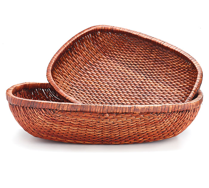 DARK STAIN OVAL WILLOW BASKET SET