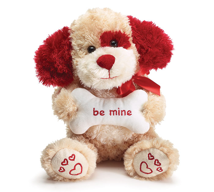 PLUSH TAN/RED BE MINE VALENTINE PUPPY