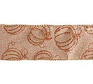 #40 GLITTER PUMPKIN LINEN WIRED RIBBON