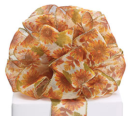 #40 SUNFLOWER SHEER WIRED RIBBON