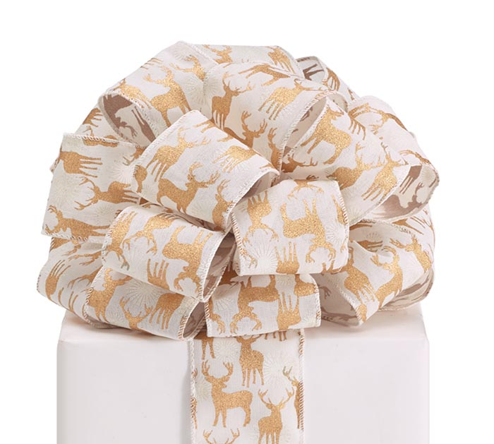 #40 GOLD DEER LINEN WIRED RIBBON