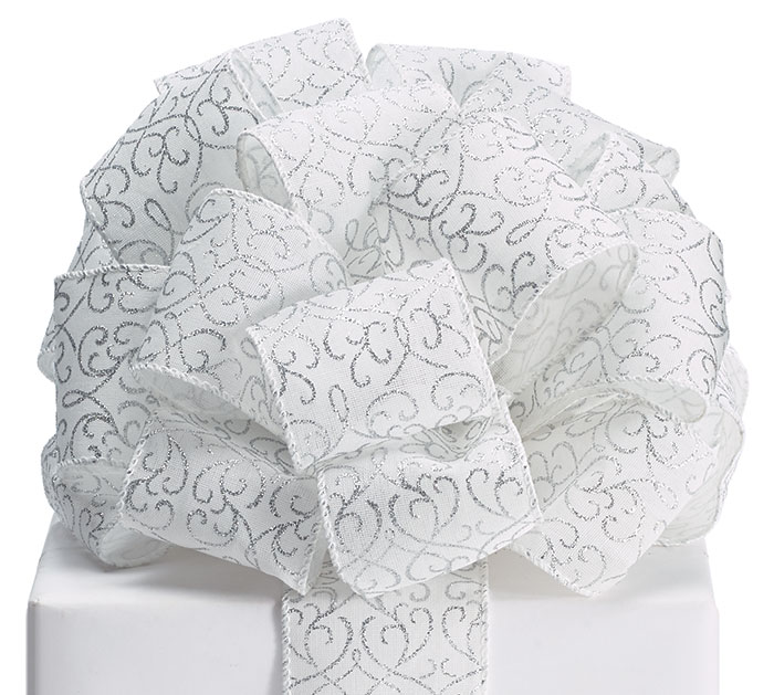#40 SILVER GLITTER SWIRLS WIRED RIBBON