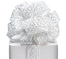 #9 SILVER SWIRLS WHITE WIRED RIBBON