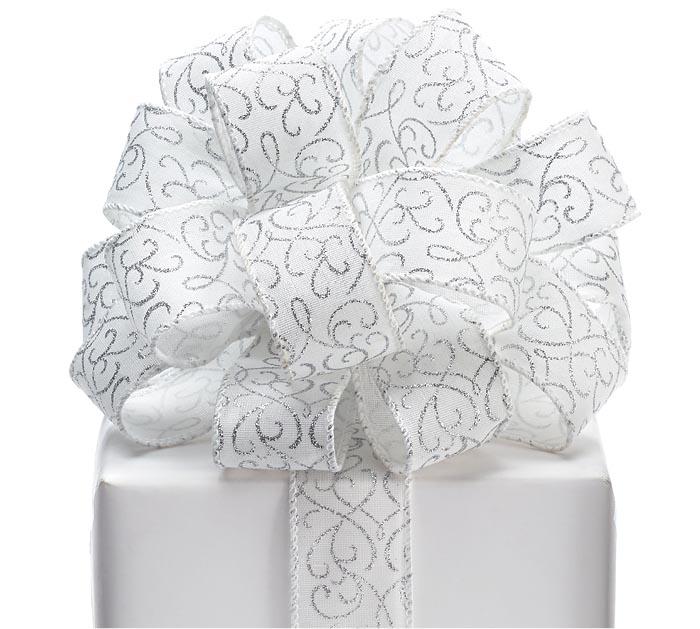 #9 SILVER SWIRLS WHITE WIRED RIBBON