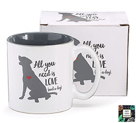 ALL YOU NEED IS LOVE/DOG CERAMIC MUG