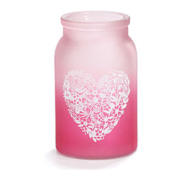VASE GLASS PINK HEART VALENTINE