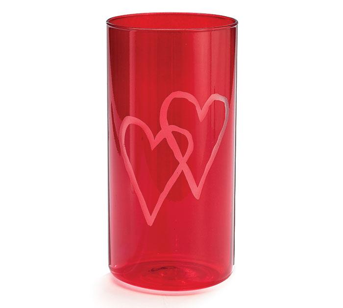 VASE GLASS VALENTINE CYLINDER HEART