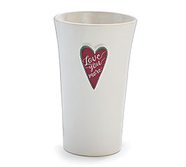 VASE LOVE YOU MORE RED HEART ON WHITE