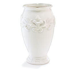 EMBOSSED VICTORIAN WHITE CERAMIC VASE