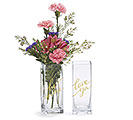 VASE GLASS VALENTINE GOLD MESSAGES