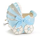 BOY CARRIAGE MUSICAL CERAMIC PLANTER SET