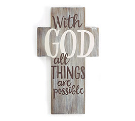 WITH GOD RUSTIC CROSS WALL HANGING