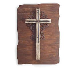 CROSS ON WOOD PLAQUE WALL HANGING