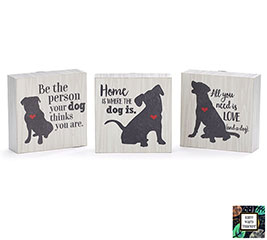 DOG MESSAGES WOOD BLOCK SHELF SITTER SET