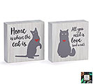 CAT MESSAGES WOOD BLOCK SHELF SITTER SET