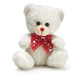 12 PLUSH WHITE/RED BEARS IN DISPLAY BOX