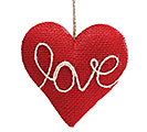 RED BURLAP HEART SHAPED LOVE ORNAMENT