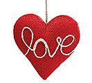 RED BURLAP HEART SHAPED LOVE ORNAMENT