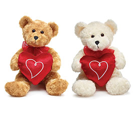 PLUSH CREAM OR BROWN VALENTINE BEAR SET
