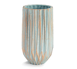 LARGE SOFT BLUE GOLD WASHED VASE