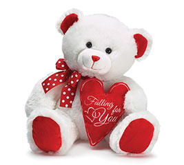 PLUSH WHITE/RED FALLING FOR YOU BEAR
