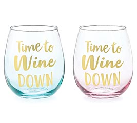 TIME TO WINE STEMLESS WINE GLASS SET