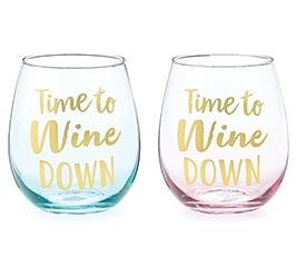 TIME TO WINE STEMLESS WINE GLASS SET