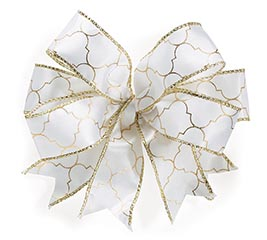 #9 WHITE WITH GOLD GEOMETRIC DESIGN BOW