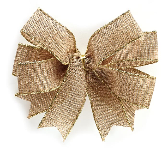#9 WOVEN KHAKI AND METALLIC GOLD BOW