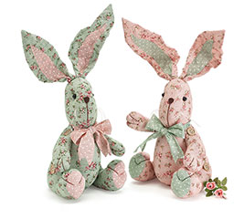 FLORAL FABRIC RABBIT SHELF SITTER PAIR