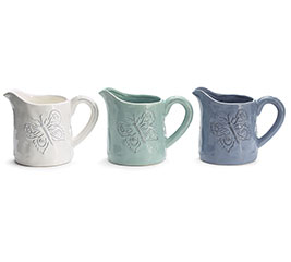 EMBOSSED BUTTERFLY CERAMIC PITCHER SET