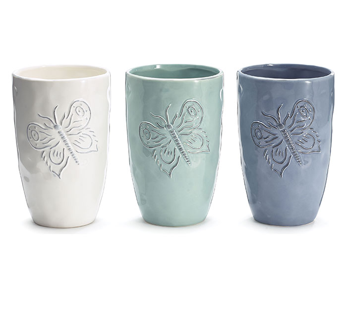 EMBOSSED BUTTERFLY CERAMIC VASE SET