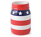 PATRIOTIC CERAMIC MASON JAR VASE