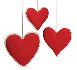 RED BURLAP HEART DECOR SET