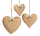 NATURAL BURLAP HEART DECOR SET