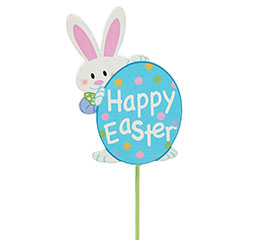 HAPPY EASTER BUNNY/EGG WOOD PICK