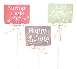 SPRING MESSAGES WOOD PICK SET